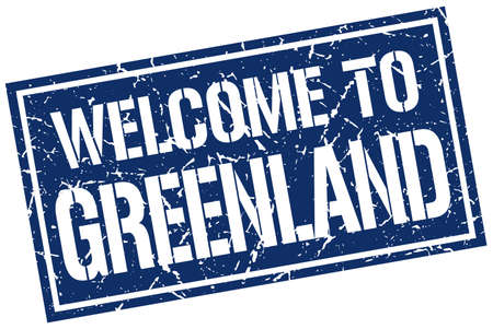 greenland: welcome to Greenland stamp Illustration