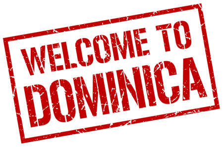 dominica: welcome to Dominica stamp Illustration
