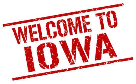 iowa: welcome to Iowa stamp Illustration