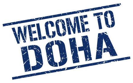 doha: welcome to Doha stamp Illustration