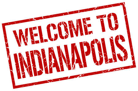 indianapolis: welcome to Indianapolis stamp