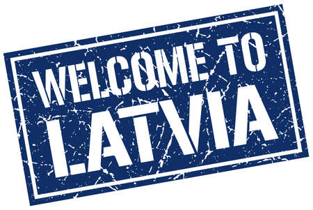 latvia: welcome to Latvia stamp