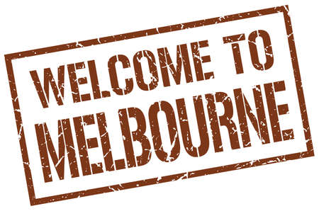 melbourne: welcome to Melbourne stamp Illustration