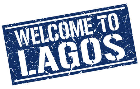 lagos: welcome to Lagos stamp