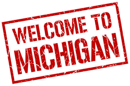 michigan: welcome to Michigan stamp Illustration