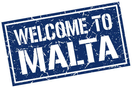 malta: welcome to Malta stamp