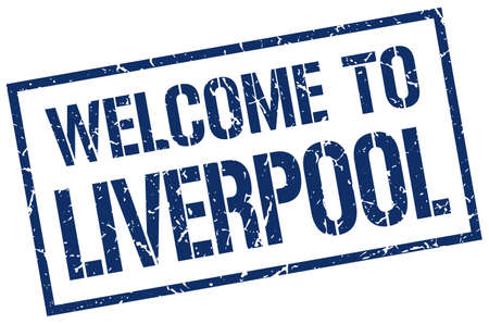 liverpool: welcome to Liverpool stamp Illustration