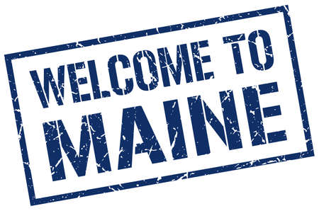 maine: welcome to Maine stamp Illustration