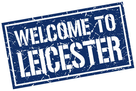 leicester: welcome to Leicester stamp Illustration