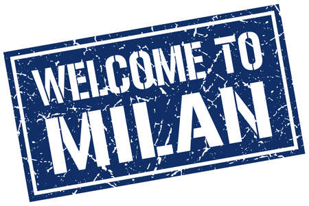 milan: welcome to Milan stamp