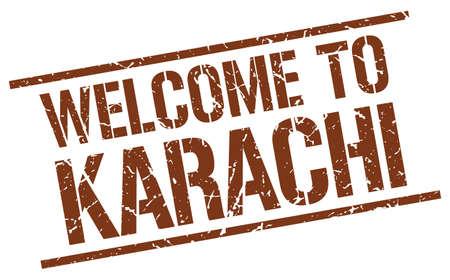 karachi: welcome to Karachi stamp