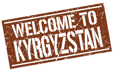 kyrgyzstan: welcome to Kyrgyzstan stamp