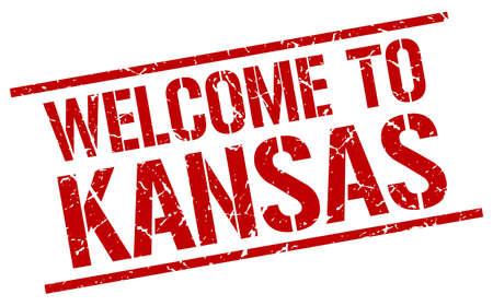 KANSAS: welcome to Kansas stamp