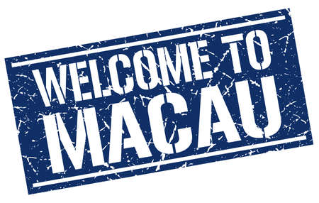macau: welcome to Macau stamp