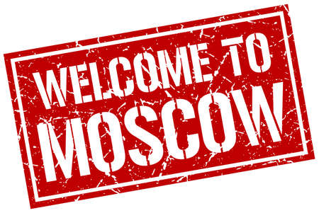 moscow: welcome to Moscow stamp Illustration