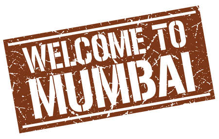 mumbai: welcome to Mumbai stamp Illustration