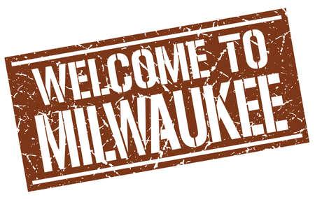 Milwaukee: welcome to Milwaukee stamp Illustration