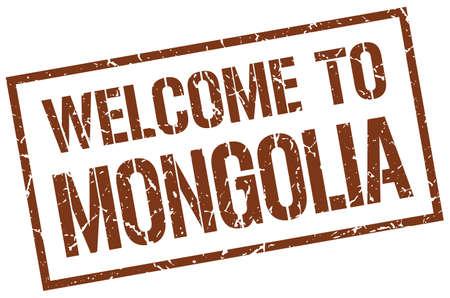 mongolia: welcome to Mongolia stamp