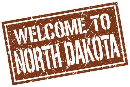 dakota: welcome to North Dakota stamp Illustration