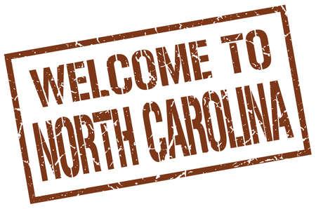 carolina: welcome to North Carolina stamp Illustration