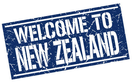 zealand: welcome to New Zealand stamp Illustration