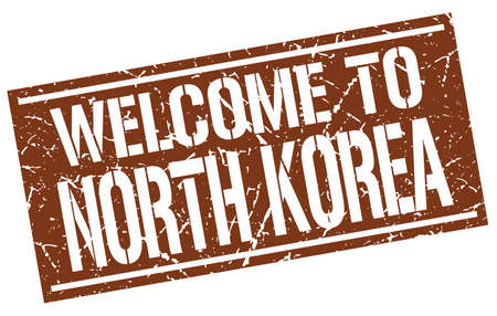 north korea: welcome to North Korea stamp Illustration