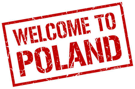 poland: welcome to Poland stamp
