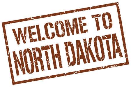 north dakota: welcome to North Dakota stamp Illustration