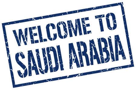 saudi arabia: welcome to Saudi Arabia stamp Illustration