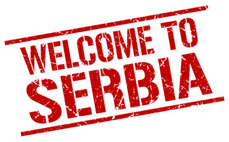 serbia: welcome to Serbia stamp Illustration