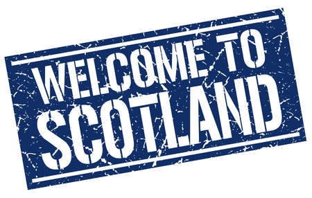 scotland: welcome to Scotland stamp Illustration