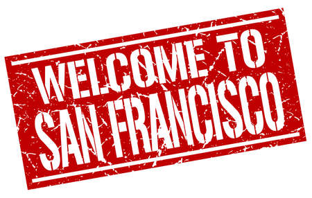 francisco: welcome to San Francisco stamp Illustration