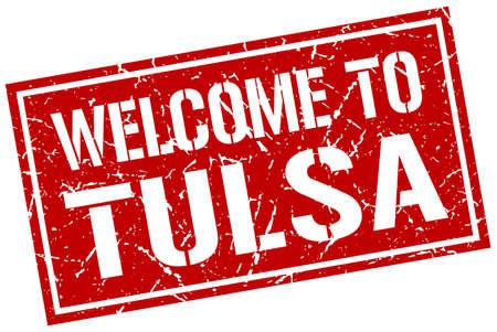 tulsa: welcome to Tulsa stamp