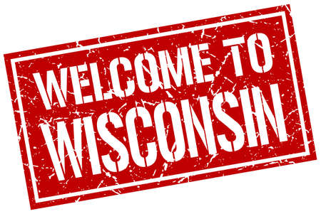 wisconsin: welcome to Wisconsin stamp