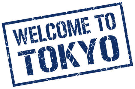 tokyo: welcome to Tokyo stamp Illustration
