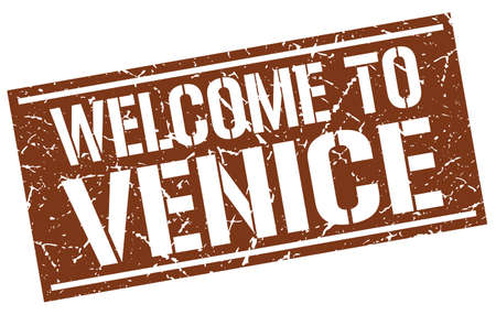 venice: welcome to Venice stamp Illustration