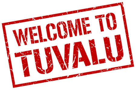 tuvalu: welcome to Tuvalu stamp Illustration