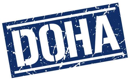 doha: Doha blue square stamp