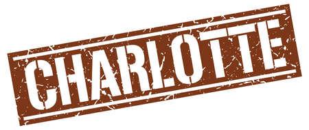 charlotte: Charlotte brown square stamp Illustration