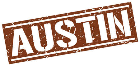 austin: Austin brown square stamp Illustration