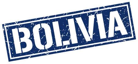 bolivia: Bolivia blue square stamp Illustration