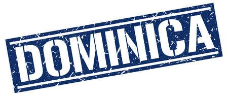 dominica: Dominica blue square stamp