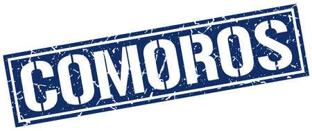 comoros: Comoros blue square stamp