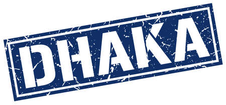 dhaka: Dhaka blue square stamp