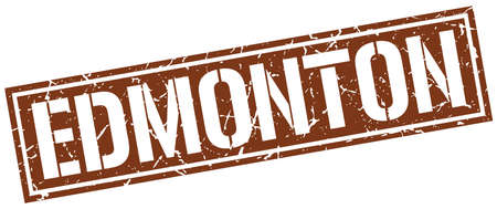 edmonton: Edmonton brown square stamp Illustration