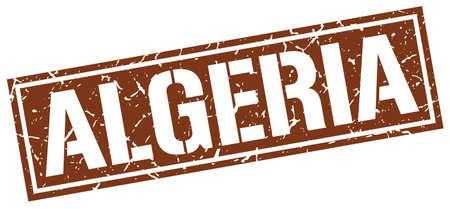algeria: Algeria brown square stamp Illustration