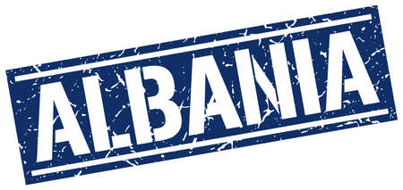 albania: Albania blue square stamp