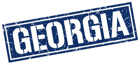 georgia: Georgia blue square stamp Illustration