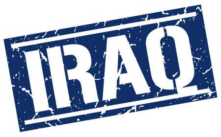 iraq: Iraq blue square stamp