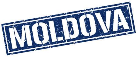 moldova: Moldova blue square stamp